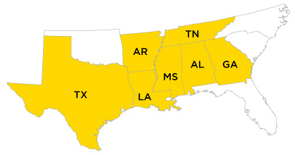 B&B is a licensed contractor in: Alabama, Arkansas, Georgia, Louisiana, Mississippi, Tennessee and Texas.