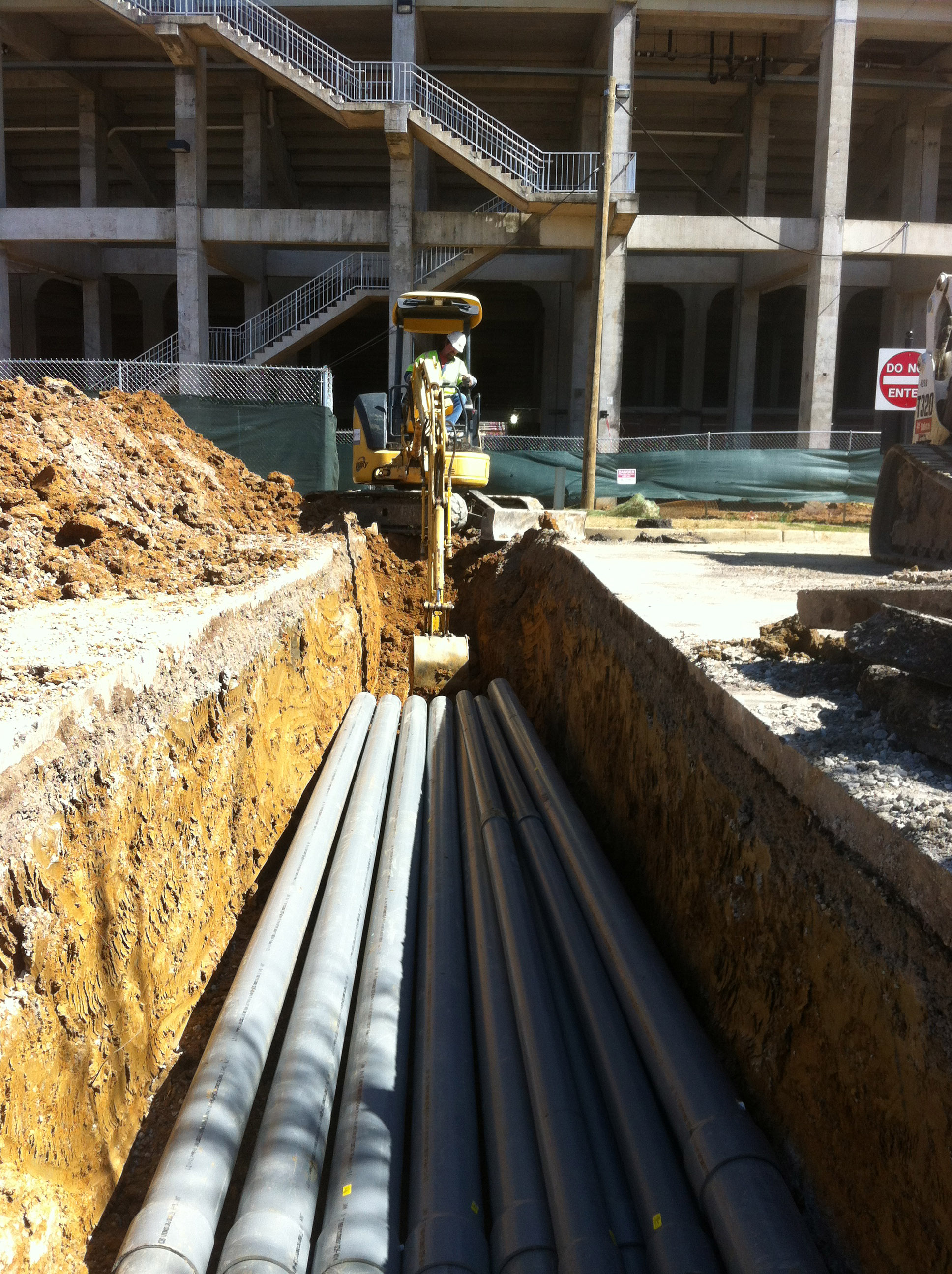 Laying conduit for Davis Wade Stadium Expansion