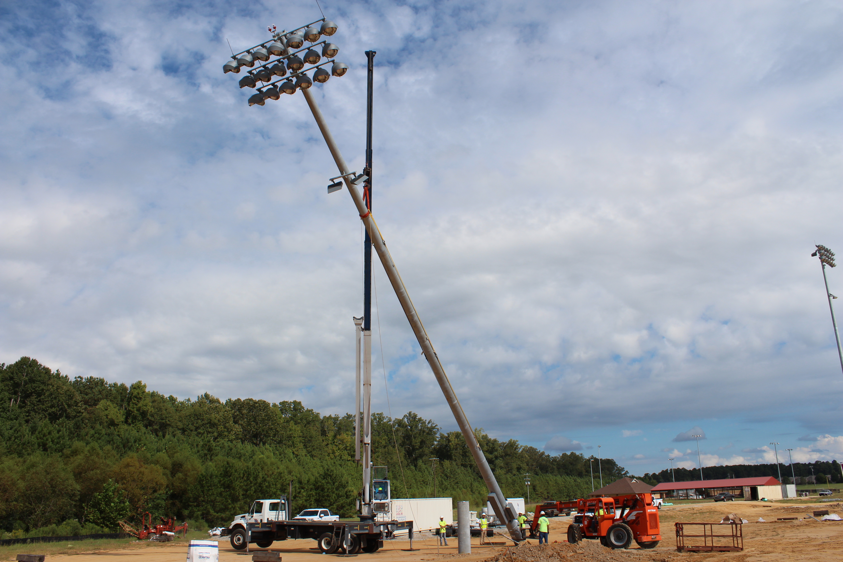 Setting ball field light at the new Brandon High School stadium 10/16